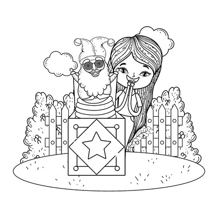 little girl with surprise box and elf head in the field vector illustration design