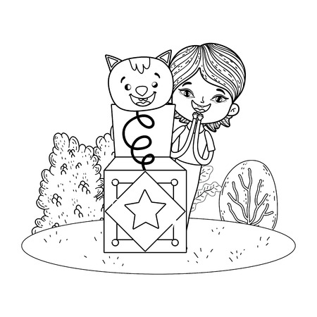 boy with fools day surprise box and cat in the field vector illustration design