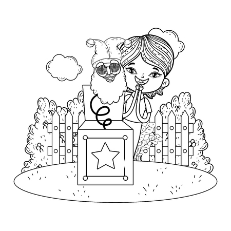 little boy with surprise box and elf head in the field vector illustration design Ilustrace