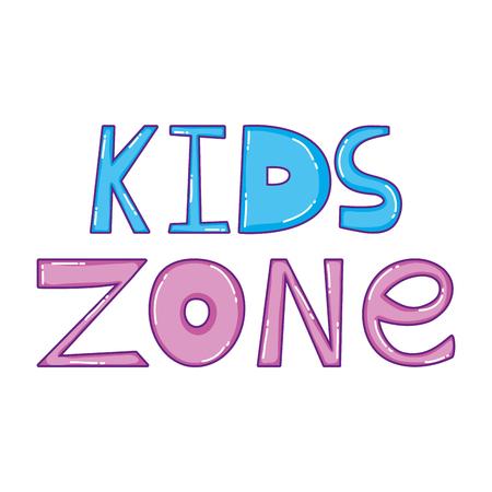 happy kids zone word label vector illustration design