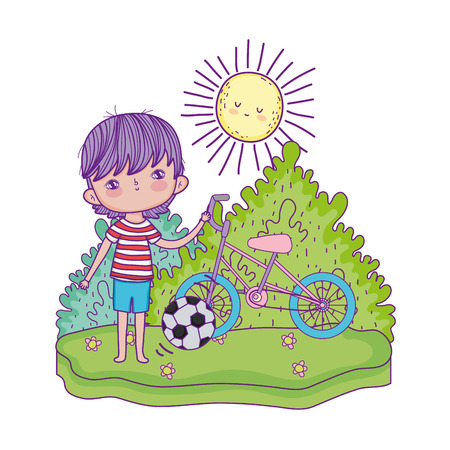 little boy with soccer balloon kids zone vector illustration design Ilustrace