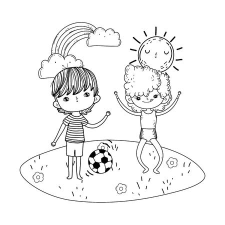 little kids playing soccer in the landscape vector illustration design