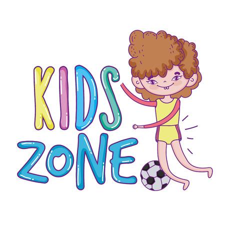 happy little boy with soccer balloon vector illustration design Illustration