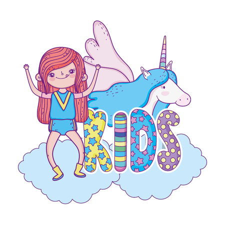 little girl with unicorn characters vector illustration design