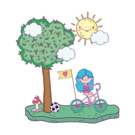 little girl ride bike in the landscape vector illustration design Illustration