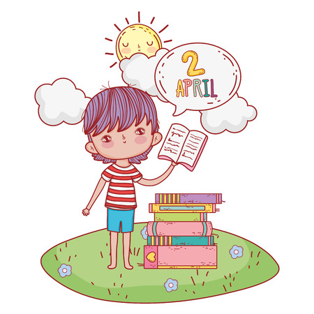 boy reading book withspeech bubble in the camp vector illustration design Ilustrace