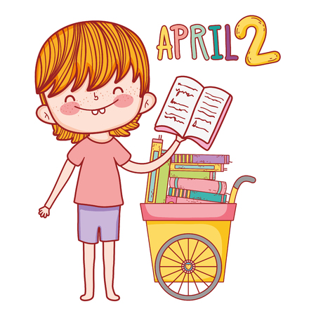 happy little boy with cart of books vector illustration design