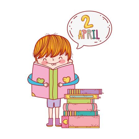 happy little boy reading book withspeech bubble vector illustration design
