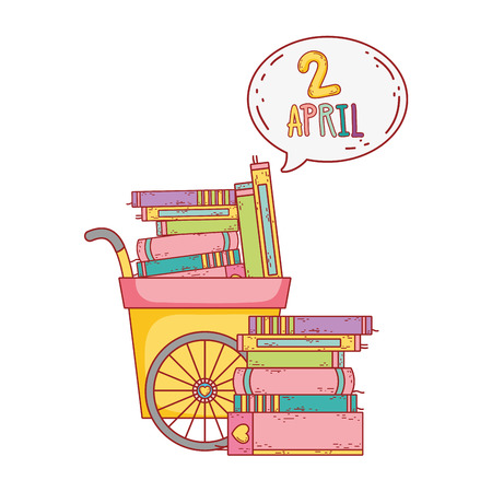cart with pile text books withspeech bubble vector illustration design