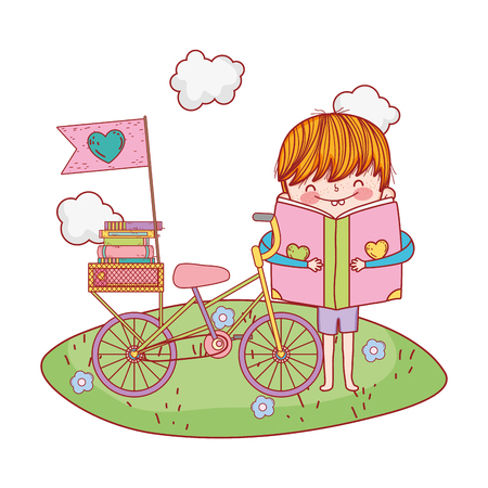 happy little boy reading book with bicycle in the field vector illustration design