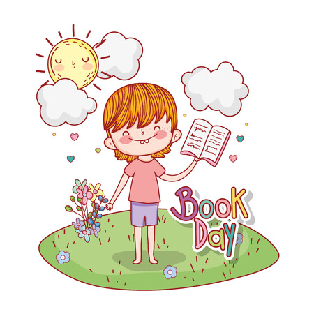 happy little boy reading book in the field vector illustration design