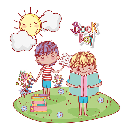 happy little boys reading books in the camp vector illustration design