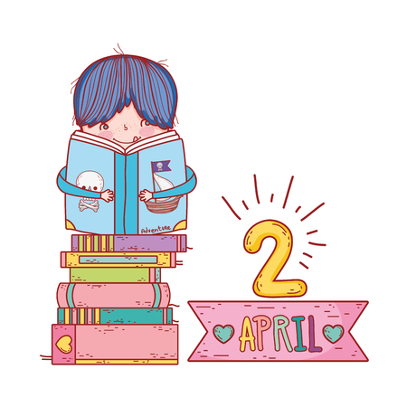 happy little boy reading books with frame ribbon vector illustration design Ilustrace