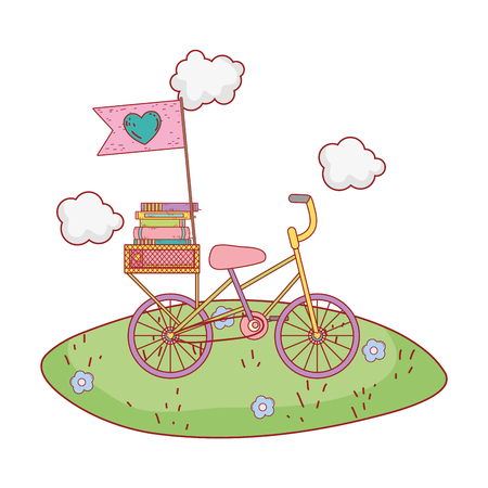 pile text books in bicycle on the field vector illustration design