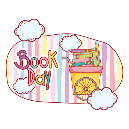 cart with pile text books with clouds vector illustration design Ilustrace