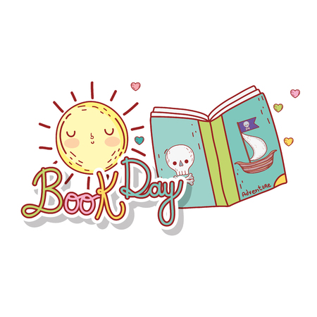 pirate text book with sun kawaii day celebration vector illustration design Illustration