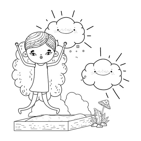 little girl with clouds kawaii in the landscape vector illustration design