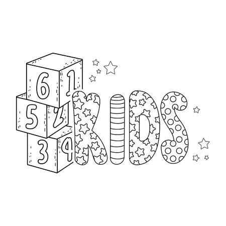 cute kids word with blocks of numbers vector illustration design Archivio Fotografico - 124904344