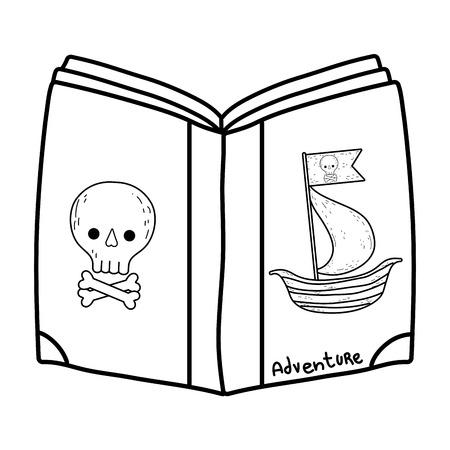 pirate text book day celebration vector illustration design