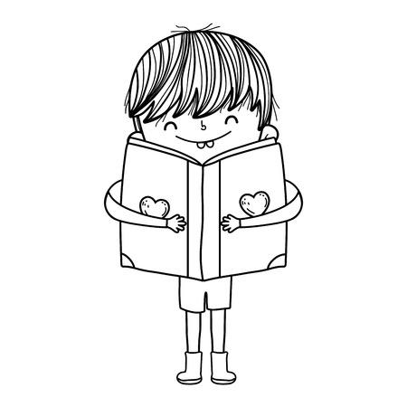 happy little boy reading book vector illustration design Ilustrace