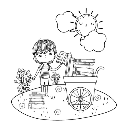 happy little boy with cart of books in the field vector illustration design