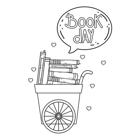 cart with pile text books with speech bubble vector illustration design