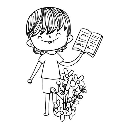 happy little boy reading book in the garden vector illustration design Foto de archivo - 124904454
