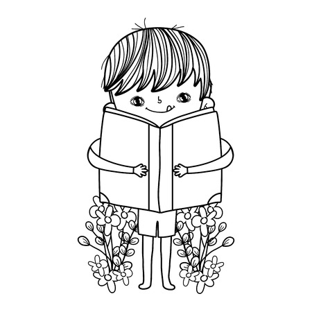 happy little boy reading book in the garden vector illustration design Foto de archivo - 124904455