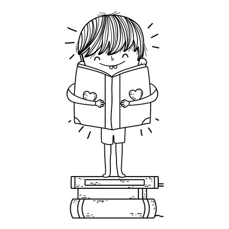 happy little boy reading books vector illustration design Foto de archivo - 124904456