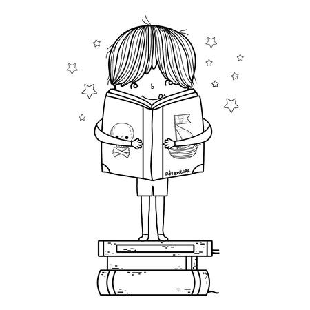 happy little boy reading books vector illustration design Foto de archivo - 124904457