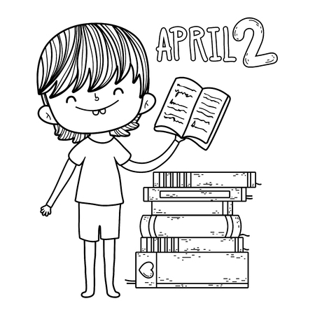 happy little boy reading books vector illustration design Ilustrace