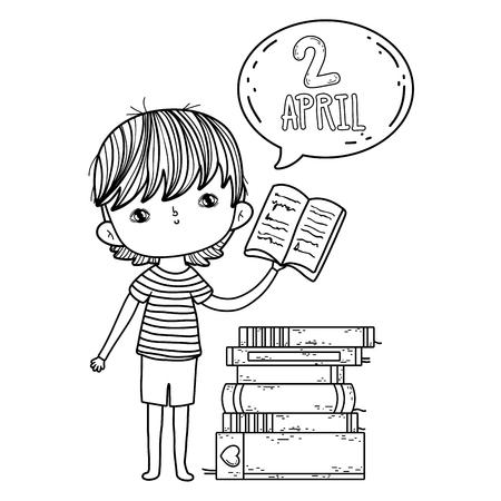 happy little boy reading book with speech bubble vector illustration design Foto de archivo - 124904461