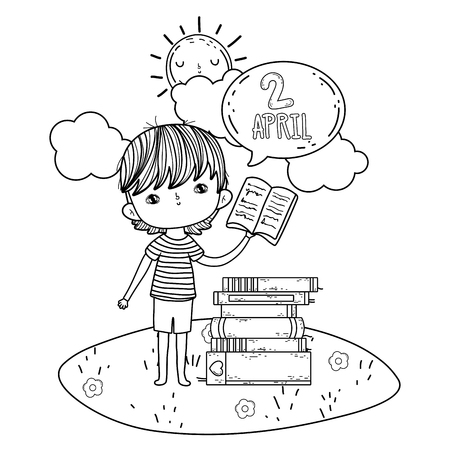 boy reading book with speech bubble in the camp vector illustration design