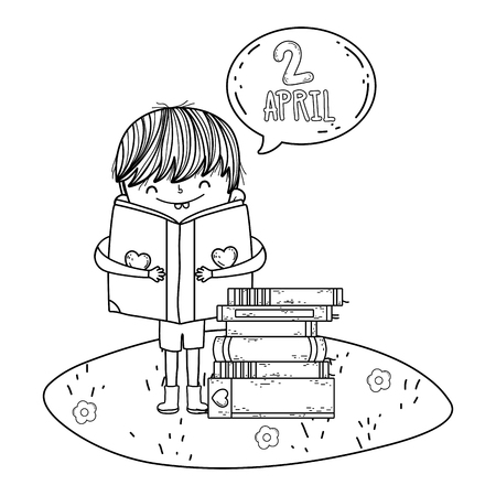 boy reading book with speech bubble in the camp vector illustration design Foto de archivo - 124904466
