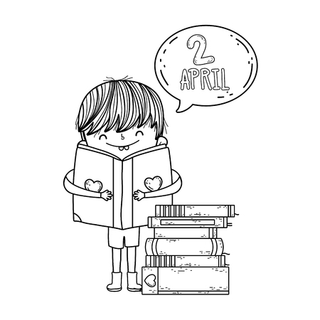 happy little boy reading book with speech bubble vector illustration design