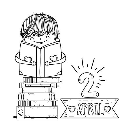 happy little boy reading books with frame ribbon vector illustration design Reklamní fotografie - 124904475