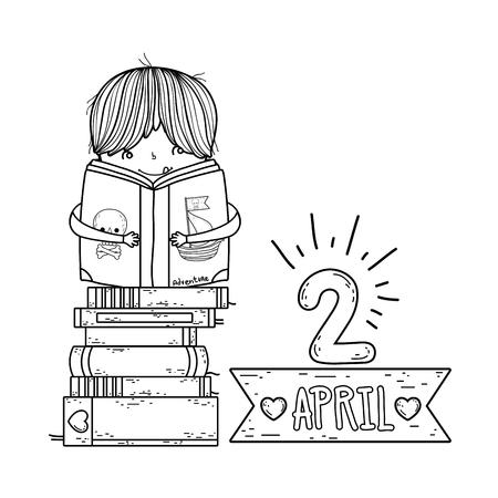 happy little boy reading books with frame ribbon vector illustration design Reklamní fotografie - 124904477