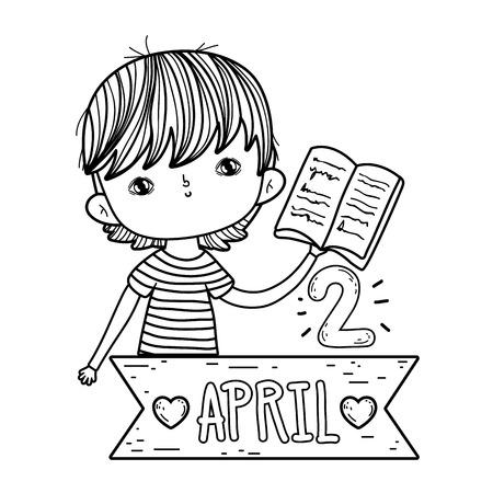 happy little boy reading book with frame ribbon vector illustration design Foto de archivo - 124904478