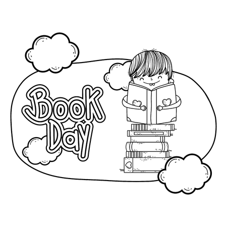 happy little boy reading books with clouds frame vector illustration design Reklamní fotografie - 124904487