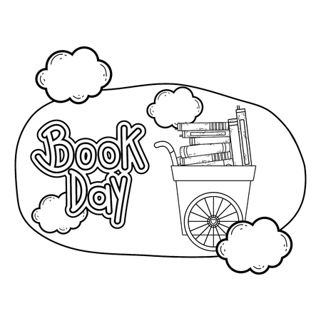 cart with pile text books with clouds vector illustration design Ilustração