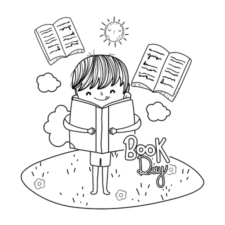 happy little boy reading books in the camp vector illustration design Ilustrace