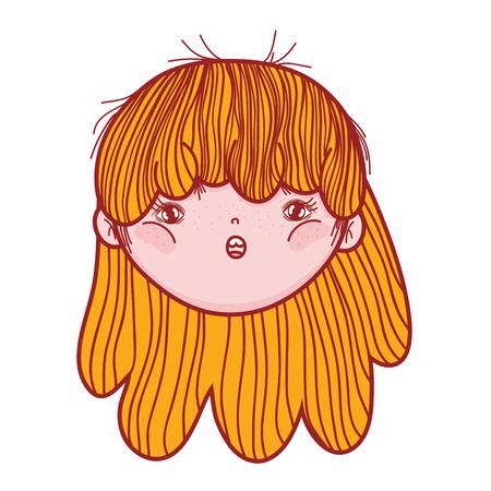 little girl head character vector illustration design