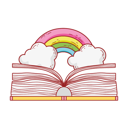 text book with rainbow day celebration vector illustration design