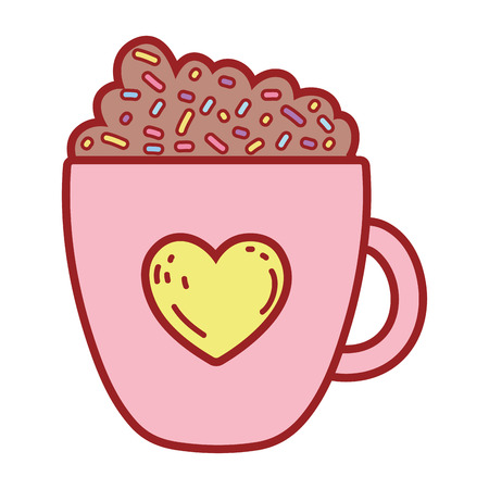 coffee cup with heart vector illustration design Stock Vector - 124904504