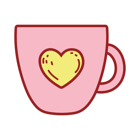 coffee cup with heart vector illustration design