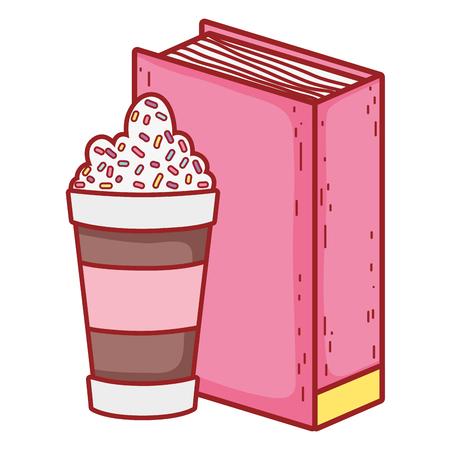 text book with milkshake day celebration vector illustration design