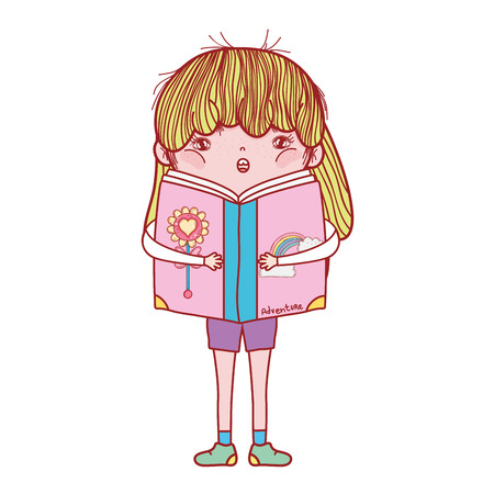happy little girl reading book vector illustration design Foto de archivo - 124904509