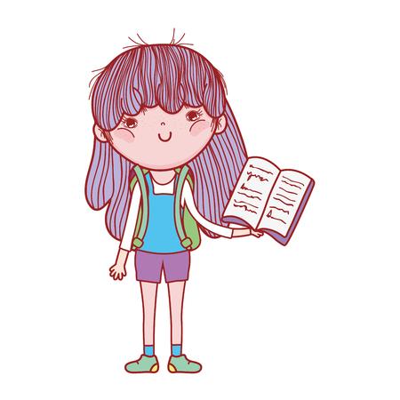 happy little girl reading book vector illustration design