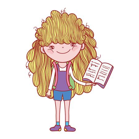 happy little girl reading book vector illustration design Foto de archivo - 124904515