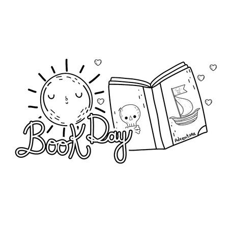 pirate text book with sun kawaii day celebration vector illustration design Illustration